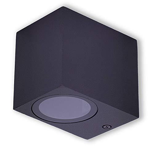 LED Wandleuchte Außen schwarz eckig 1,2 Watt warmweiß – IP44 Down Außen-Leuchte aus Aluminium – 1x GU10 Außenstrahler Garten-Lampe