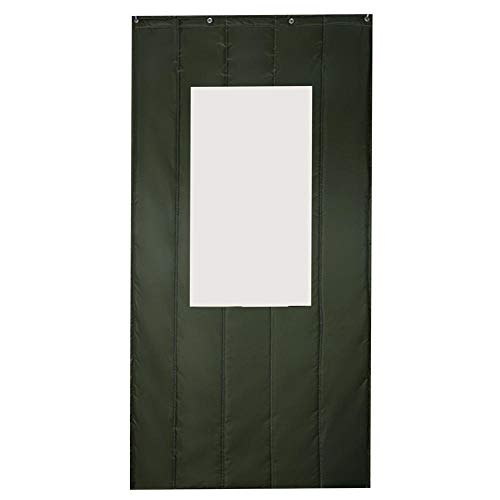 DWXN Verde Cortinas Gruesas con Ventana Transparente 100x220cm/39.4x86.7in Cortina Ignifuga para Campistas Caseros
