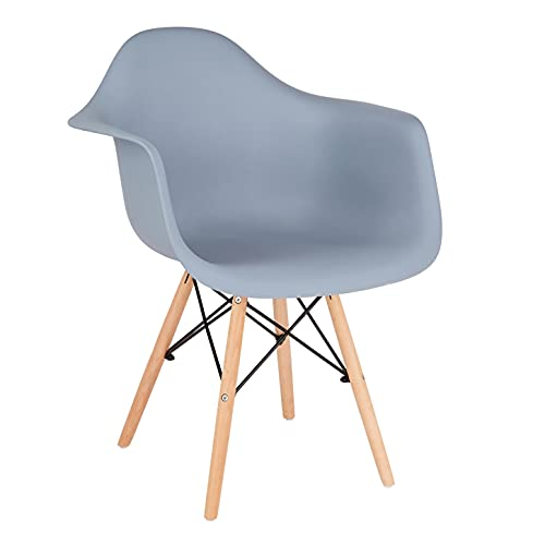 CangLong Natural Wood Legs Mid Century Modern DSW Molded Shell Lounge Plastic Arm Chair for Living, Bedroom, Kitchen, Dining, Waiting Room, Set of 1, Grey