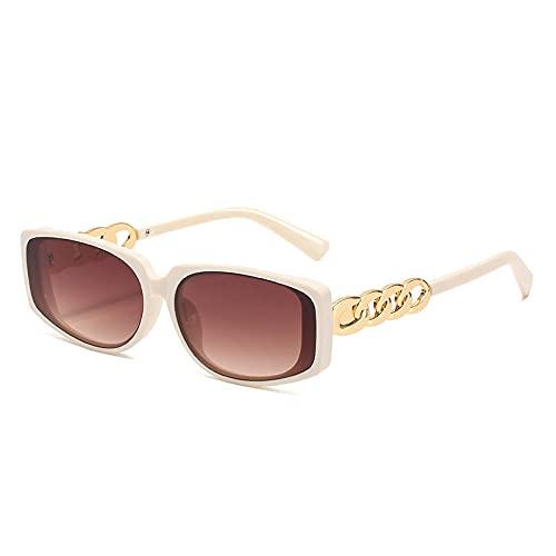 Gafas de sol cuadradas con lente pequeña, mujer, hombre, moda, cadena dorada, gafas de sol para hombre, gafas de montura grande, anteojos, Eyewear-C7_Universal_Other