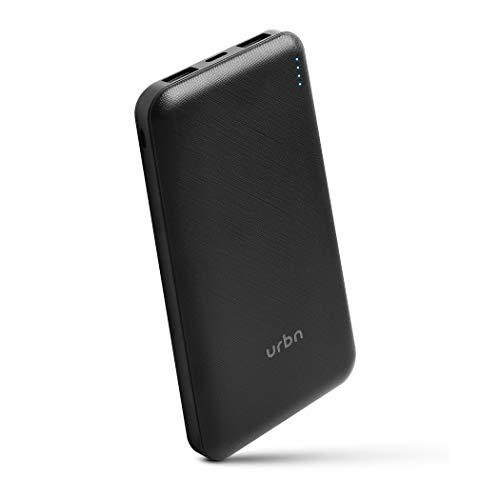 URBN 10000 mAh Li-Polymer Slim Type-C Power Bank with 12W Fast Charge, Type C & Micro Input (Black)