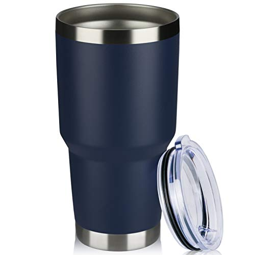 MEWAY 30oz Tumbler Double Wall Vacuum Insulated Travel Mug, Stainless Steel Tumbler with Lid, Durable Powder Coated Insulated Coffee Cup for Cold & Hot Drinks (Navy, 1)