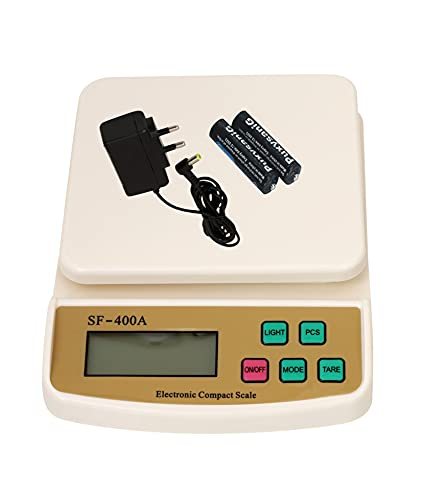 REXBURG Digital Kitchen Weighing Scale & Food Weight Machine for Health, Fitness, Home Baking & Cooking Scale & Battery, Adopter Included (SF400A-White)