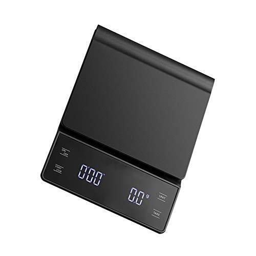 Bonvoisin Balance de cuisine électronique à café 3000 g 0,1 g avec minuteur Fonction tare et tampon en silicone (pile non incluse) (Noir)