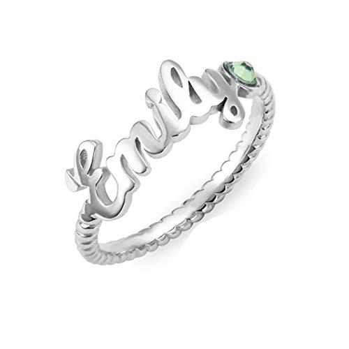 Anillo de nombre personalizado Personalización 1 anillo de piedra natal Anillo trenzado Anillo de promesa Halloween para mujeres(Plata 22.5)