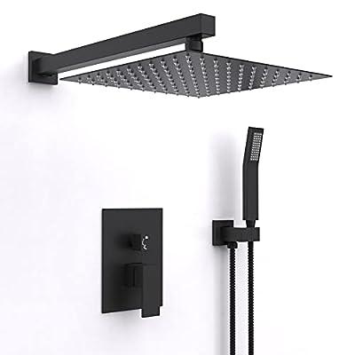 10 Inch Rain Shower System Matte Black Bathroom Shower Faucet Set Complete Bathtub Shower Combo Matte Black Luxury Shower Fixtures Pressure Balance Shower Valve and Trim Kit.