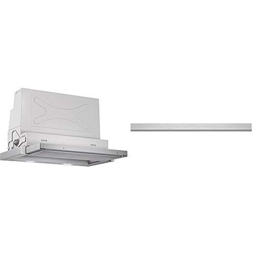 Bosch DFR067A50 Serie 4 Flachschirmhaube / 60 cm/Silbermetallic/wahlweise Umluft- oder Abluftbetrieb & DSZ4655 Zubehör für Dunstabzüge/Griffleiste/Passend für: 60 cm breite Flachschirmhauben