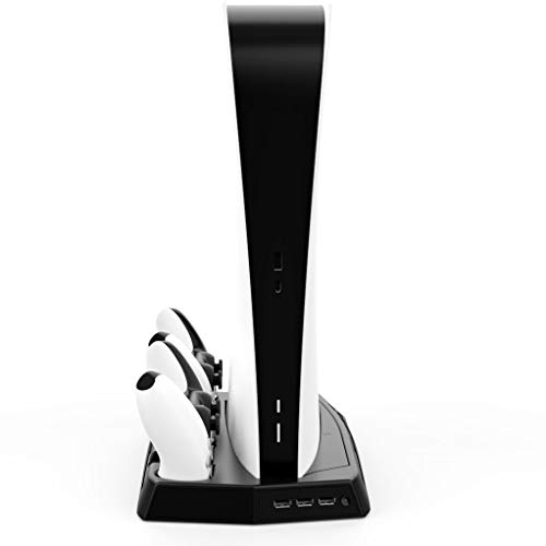 Vertical Stand with Cooling Fan for PS5 Digital Edition/Ultra HD AtlasFasst Playstation 5 Stand Controller Charge Station with Dual Sense Controllers EXT Port Charger Dock and 3 USB HUB