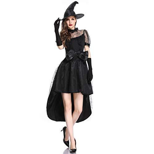 Damen Hexe Kostüm Kleid mit Hut Handschuhe Piebo Halloween Weihnachten Performance Kleider Pirat Ghost Cosplay Dress Smoking Kleid Bowknot Spinnennetz Sexy Spitze Kurzarm Minikleid Karneval Party