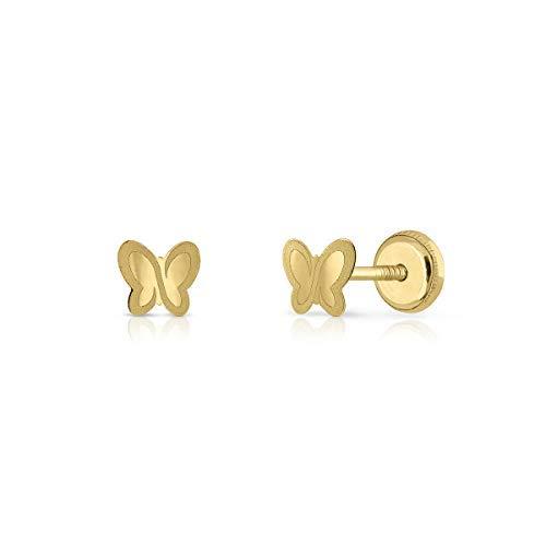 Pendientes oro 18k, para bebe recién nacida, niña o mujer diseño mariposa ideal para recién nacida. 4-5-6 mm (4 mm - rosca)
