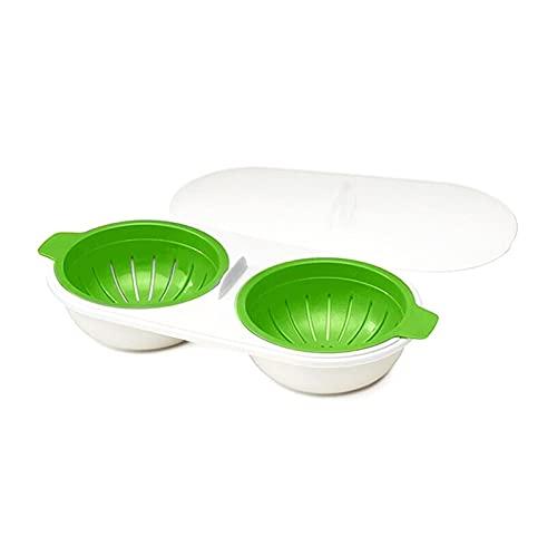 Prominy 2 Ollas De Huevos para Microondas, Olla Portátil De Doble Taza para Huevos Cocidos, Hervidor para Huevos Escalfados, Hervidor para Huevos con Drenaje Antiadherente 22 * 10.5 * 6cm/D