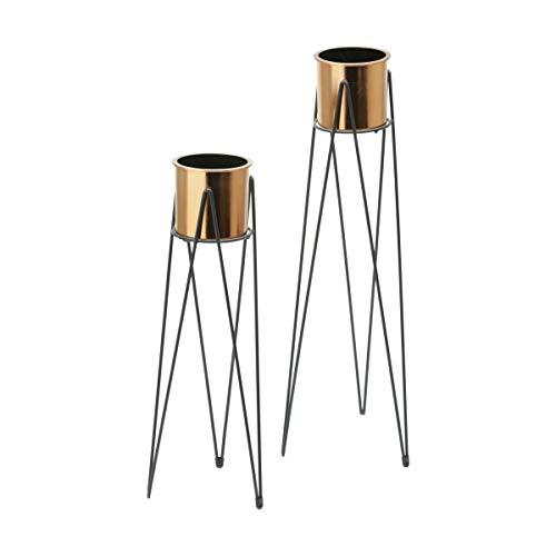 Conjunto de com 2 Vasos Metal/Plástico Geo Forms Chão Urban Cobre