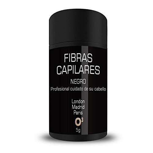O³ Fibras Capilares Negro 5g - Keratin Fibers 100% Natural para Disimular Calvicie UNISEX (5g - Negro)