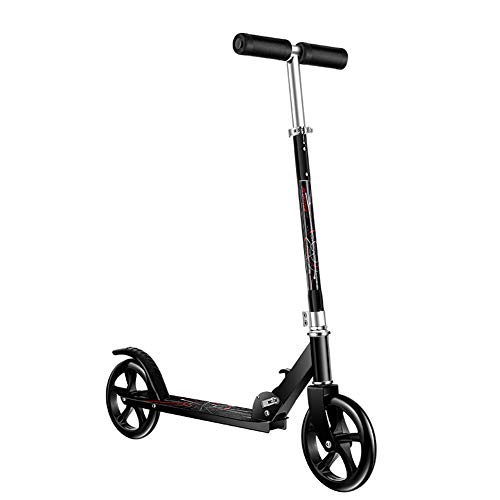 Fantastic Prices! Adult Big Wheel Kick Scooter Foldable, Adjustable Height 2-Wheel Commuter Scooter,...