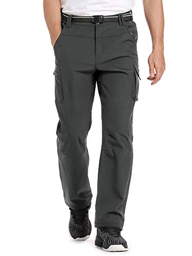 Jessie Kidden Hiking Pants Mens Waterproof Outdoor Fleece Lined Ski Snow Insulated Soft Shell Pants #6069-Dark Grey,34