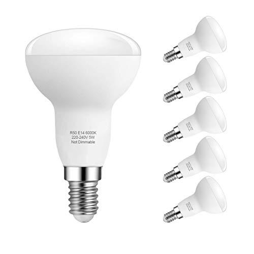 5W E14 LED Lampe, R50 Reflektorlampe, Kaltweiß 6000K E14 LED Glühbirnen Nicht Dimmbar, Ersetzt 40W Traditionelle Energiesparlampe, 180 ° Abstrahlwinkel, 6er Pack