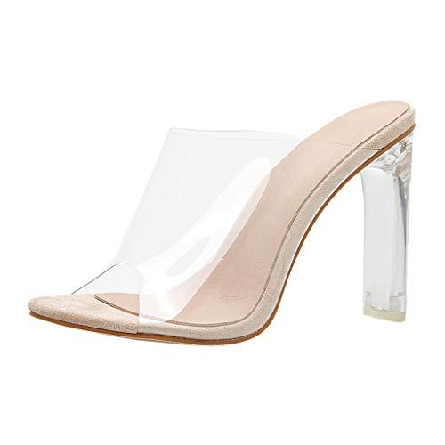 MEIbax Damen Transparente High Heel Sandalen Feine Ferse Sexy Flip Flops Pantoletten Slipper,11cm,35-42