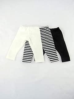 American Fashion World White Plain, Plain Black, and Black & White Striped Leggings Set of 3 fits 18 Inch Doll