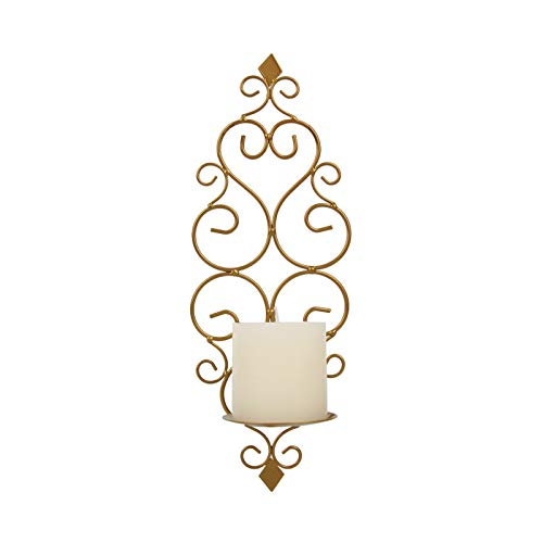 LRHD Candlestick, Iron Wall Candle Sconce Holder Hanging Wall Mounted Pillar Candle Sconces Holder, Wall Sconces Decor for Bedroom Dining Room Living Room Bathroom(Golden)