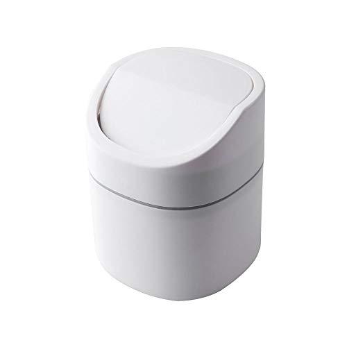 weichuang Papelera de escritorio Nordic Mini cubo de basura de plástico pequeño para el hogar, la oficina, la mesa, la papelera de basura del hogar y la caja de barril (color: blanco)