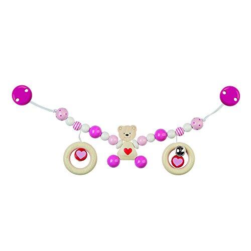 Heimess 736850 Kinderwagenkette Herzbär mit Clips, rosa