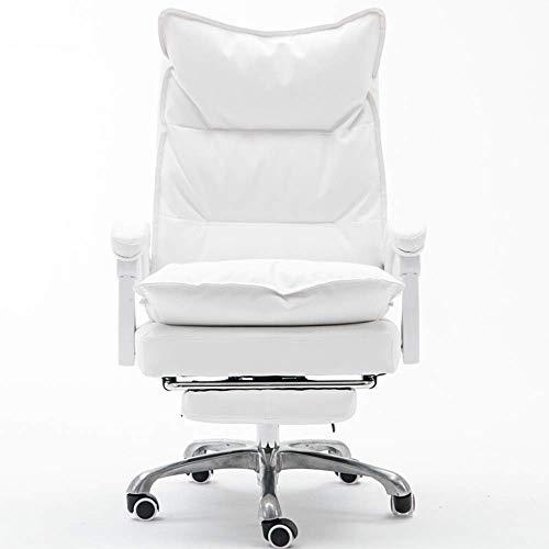 WLD Büro-Stuhl-Schwenker-Computer-Schreibtisch-Stuhl Weicher Pu-Leder-Ergonomischer Bürostuhl Chefsessel Höhenverstellbarer Home Office Stühle Zghe,Weiß,125X48X56Cm