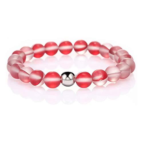 YIFEIJIAO, Runt mystiskt glaspärlor stretcharmband 8 mm matt månsten pärlor armband-röd