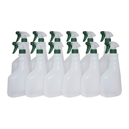 Super Net Cali Botella pulverizador vaporizador de plástico. 750 ml. Spray rellenable para jardín, Limpieza, Industria, hogar y Profesional. Resistente Productos químicos. (12 Unidades, Traslúcido)