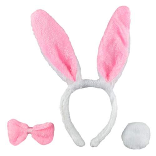 Huiyoo Osterhasen-Kostüm, Ohren, Fliege und Schwanz, für Kinder, Erwachsene, Weiß, Herren, HDR33