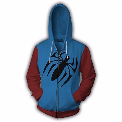 Herren Fashion Superheld Anime Hoodie Realistische 3D Gedruckt Spider Sweatshirts Langarm Jacke mit Fronttasche Gr. XXXL, Cb 01