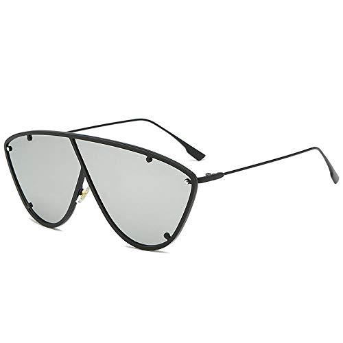 QINGZHOU Sonnenbrillen,Große Sonnenbrille Netto Rote Persönlichkeit Winddichte Einteilige Bunte Rahmen Damen, Schwarzer Rahmen Quecksilberfolie