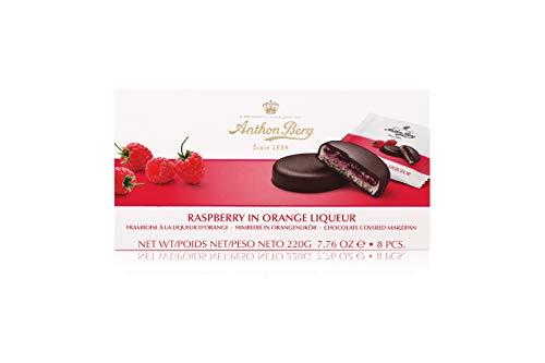 mazapán de pasteles con relleno y revestimiento de chocolate Anton Berg–Frambuesa en Naranjas licor (8unidades. /220g) Danés spezialität