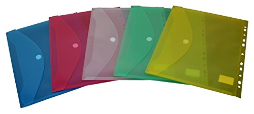 EXXO by HFP 35300 Dokumententaschen Sammelmappen Sichttaschen A4 quer transparent farblich sortiert - Dokumentenmappe zum Abheften mit Eurolochung, Abheftrand, Klappe und Klettverschluss - 10 Stück