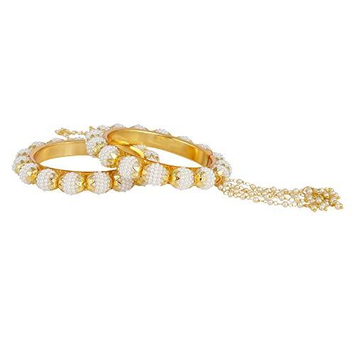Efulgenz Modeschmuck Indische Bollywood 14 K Gold plattiert Kunstperlen Perlen Armband Brautschmuck Quaste Armreif Set (2 Stück) für Frauen - 2.60