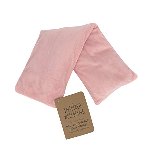Pale Pink Lavender fragranced Aromatherapy microwaveable Heat Pack Weighted Hygge Warming Wellness Therapy Velour Body Neck wrap Removable Cover