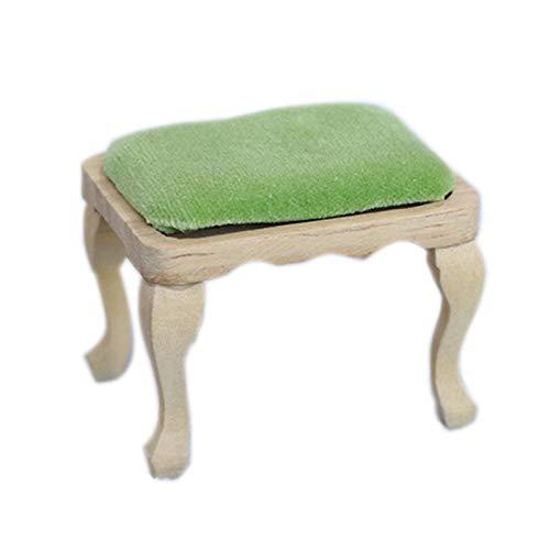 Sonoaud Taburete de madera de escala 1/12 para casa de muñecas en miniatura, juguete para niños, decoración de muebles para niños mayores de 3 años A