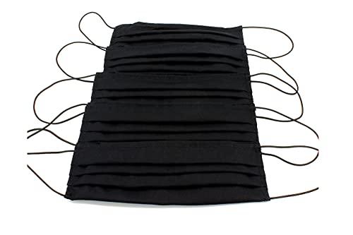 5 Mascherine artigianali nere in doppio strato di puro cotone con tasca per inserimento ulteriore protezione