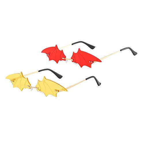 F Fityle 2X Gafas de Sol con Forma de Murciélago para Mujer Sombras de Verano UV400 Gafas de Sol para Fiestas Gafas - Rojo + Amarillo
