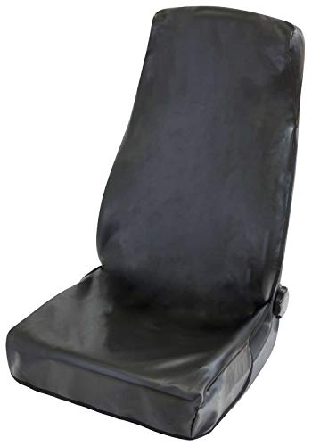 Walser Autositzauflage Kunstleder, Sitzschoner, Universalgröße Schutzauflage und Schutzunterlage für PKW und LKW, Clean Tony Werkstattschoner aus Kunstleder, Farbe: schwarz 12071
