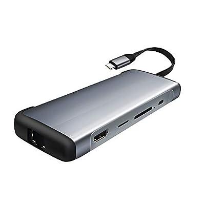 USB C Hub, USB Type C Hub HDMI Adapter for MacBook Pro, 9-in-1 USB-C PD Charging, 4K HDMI, RJ45 Gigabit Ethernet, SD/TF Card Reader, USB 3.0, 3.5mm Audio Jacket, Aluminum(Space Sliver)