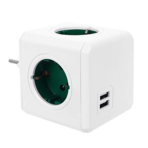 JUZIPI Adaptador de enchufe de 16 A 220 V Cube regleta con toma USB, enchufe de pared USB, enchufe de cubo, sin cable, adaptador de enchufe para pared, smartphone, viaje, oficina