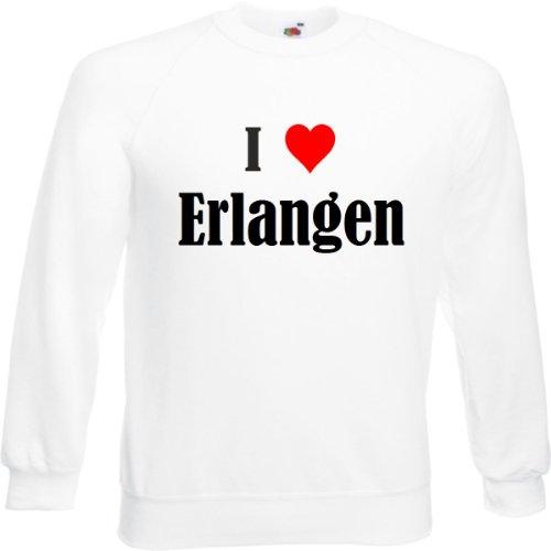 Reifen-Markt Sweatshirt Damen I Love Erlangen Größe S Farbe Weiss Druck Schwarz