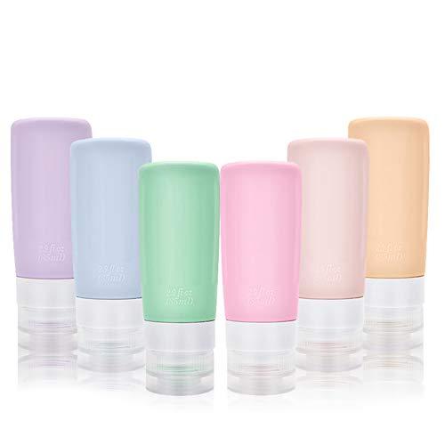 Silikon Reiseflaschen Set, Auslaufsicher Reisebehälter für Shampoo, Spülung, Duschgel, Lotion, Toilettenartikel, Körperpflege