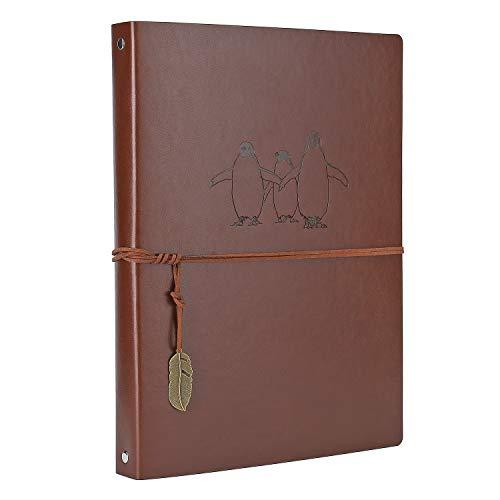 AIOR Leder Notizbuch A4, Leere Seiten Journal Notebook, Vintage Vintage Travel Tagebuch Notiz Skizzenbuch Nachfüllbar Skizzenbuch Reisetagebuch zum Weihnachts Geburtstag Geschenk (Pinguin)