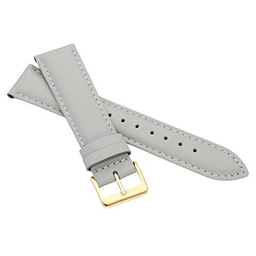 MARCHEL Glattleder LLB155 19 mm Grau Gold Lederarmband Echtleder Uhrenarmband Rindsleder Feines Leder Uhr Band