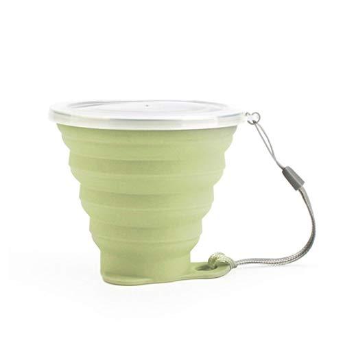 LIANYG 270 ml Edelstahl-Silikon-Faltschale mit Lanyard staubdichtem Deckeldeckel Kaffeetassen im Freien Einziehbare Reise-Copa