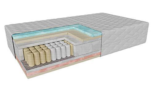 Colchón de bolsillo con látex viscoelástico y espuma termoplástica CAVA 7 en zonas | H2/H3 – dureza media/media | Altura: 24 cm | Serie Premium de materiales hipoalergénicos (90 x 190 cm)