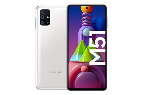 Samsung Galaxy M51 Android Smartphone ohne Vertrag, Quad-Kamera, 6,7 Zoll Infinity-O Super AMOLDED+ Display, starker 7.000 mAh Akku, 128 GB/6GB, Handy in Weiß, deutsche Version exklusiv bei Amazon