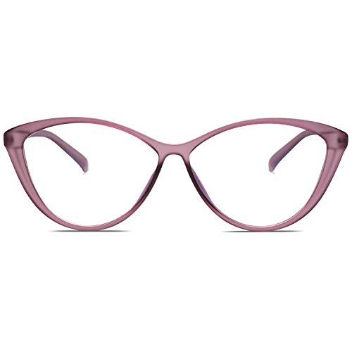 SOJOS Blaulichtfilter Brille Damen Cateye Computer Brille ohne Sehstärke Anti-Blaulicht Gläser Übergroß SJ5057 mit Mattes klares Lila Rahmen /Anti-blaulicht-linse