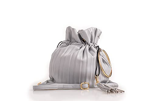 Grey Soft Faux Leather Small Duffle HandBag Eith Drawstring Tassle Pendants Gold Ring Bracelet And Matching Strap